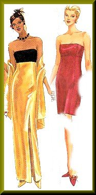 Strapless Empire Bodice Sleek Gown Sz 10-14 McCall's Sewing Pattern 9403 Sexy Fitted Sheath Dress