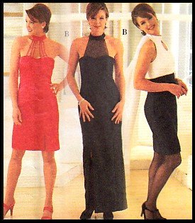 Keyhole Evening Gown Sz 10-14 Simplicity Sewing Pattern 7104 Empire Bodice Scarf 90s Cocktail Dress
