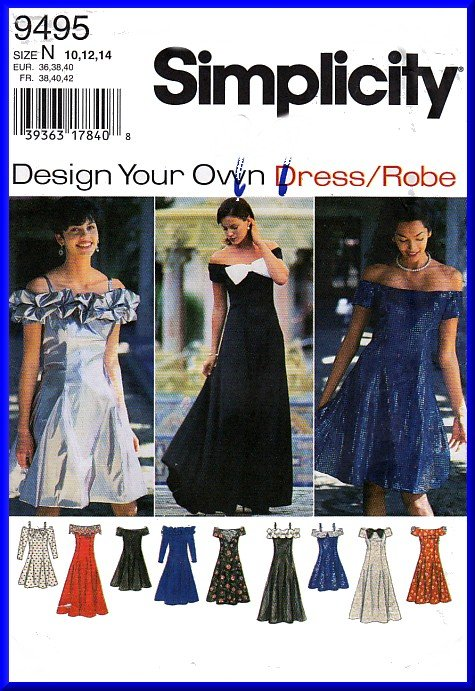 1bda3c03dfdb9f 90s Bridesmaid Prom Party Gowns Sz 10-14 Simplicity Sewing Pattern 9495 Off  Shoulder Ruffles Dress