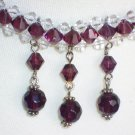 Lovely Elegant Woven Plait Choker Necklace Amethyst Purple Clear Faceted Glass Beads Dangling Charms