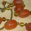 Rustic Autumn Amber Matinee Necklace Yellow Rust Oblong Round Beads Antique Gold Bronze Chain