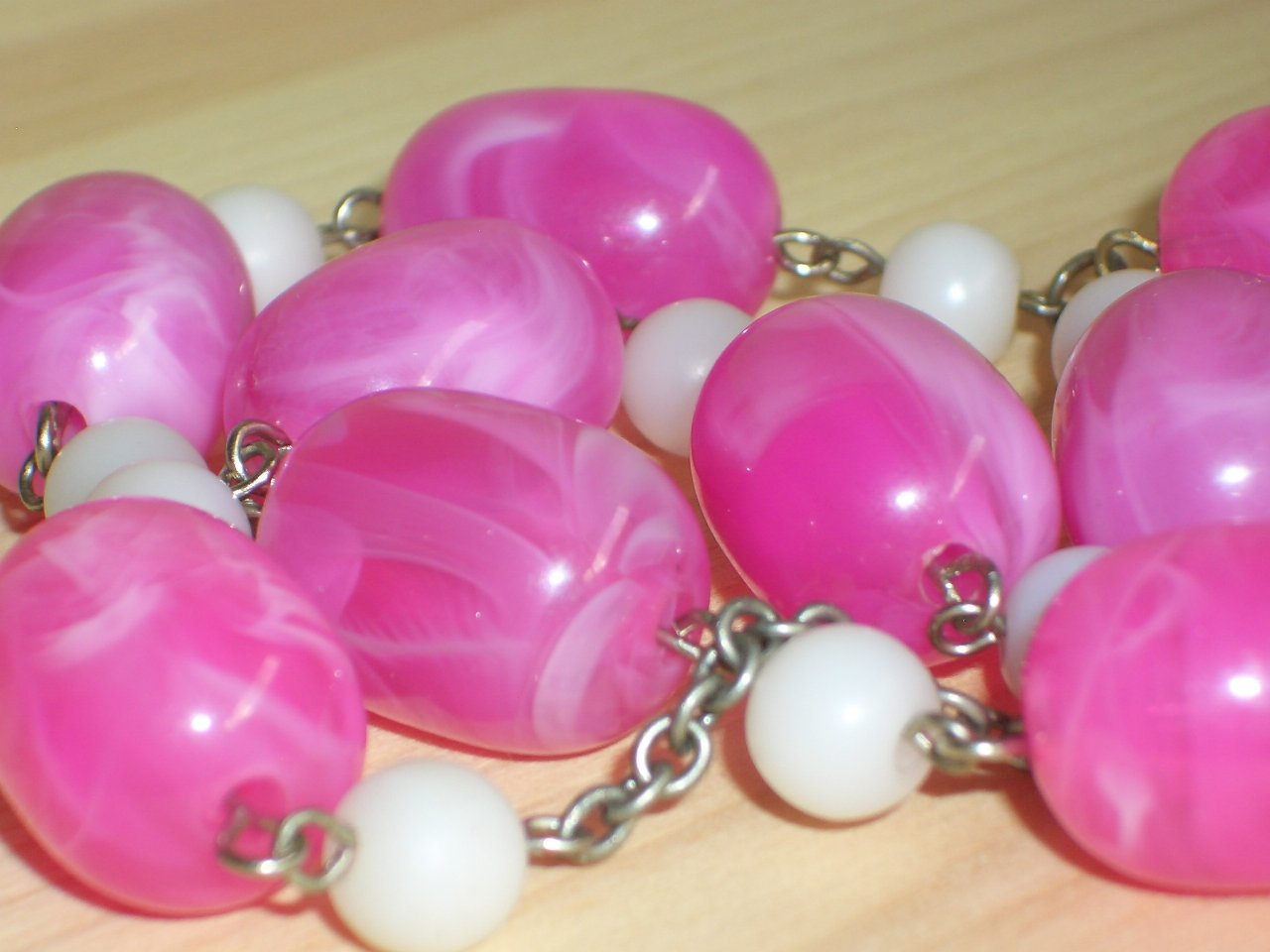 Bubblegum Cotton Candy Matinee Necklace Lovely Ladylike Pink White Oblong Round Beads Pendant