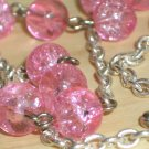 Lovely Feminine Matinee Necklace Pink Crackled Round Glass Beads Dangling Charm Silver Tone Chain