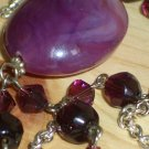 Purple Passion Matinee Necklace Amethyst Plum Purple Faceted Glass Beads Large Pretty Oval Pendant