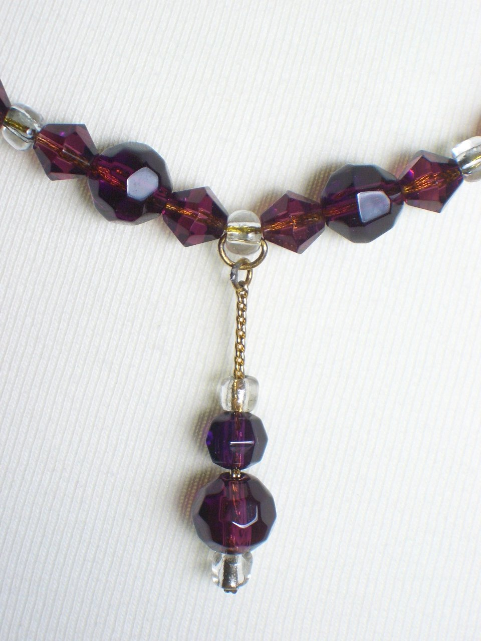 Pretty Plum Princess Necklace Clear Amethyst Purple Faceted Glass Beads Dainty Lovely Dangling Charm