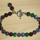 Funky Boho Abstract Hippy Bracelet Round Glass Beads Marbelized Green Blue Purple Plum Red Dark Bold