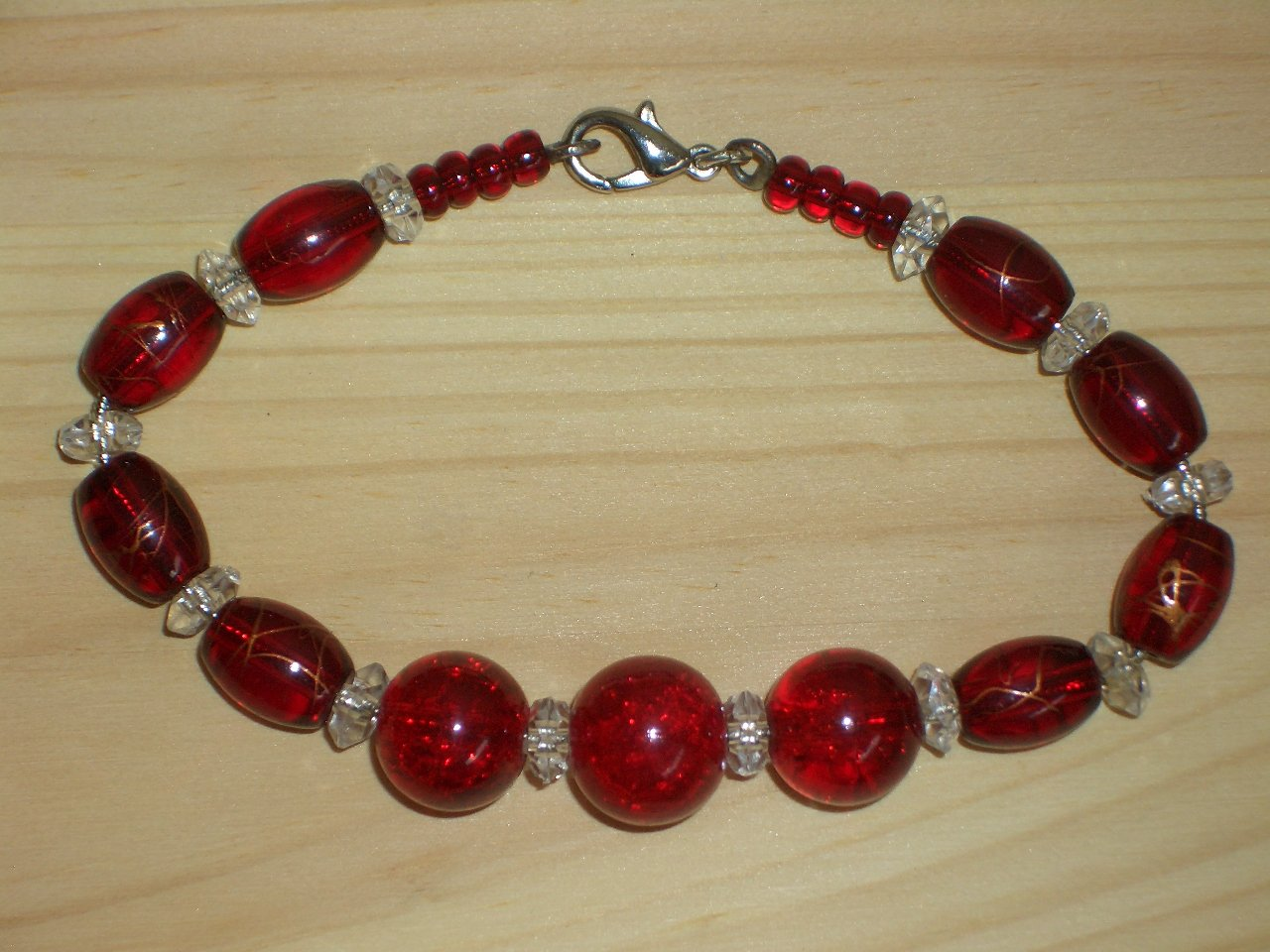 Flaming Red Hot Bracelet Clear Red Crackled Faceted Round Oval Seed Glass Beads Flirty Bold Sexy