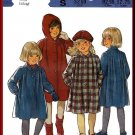 Formal Girls' Wool Coat Hat Sz 2-4 Style Sewing Pattern 3967 Beret Hood Tucks Collar Dressy Coat