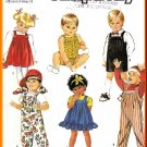 Cute Toddlers' Pleated Jumpsuits Sz 0.5-3 Simplicity Sewing Pattern 7017 Children's Play Time Jumper