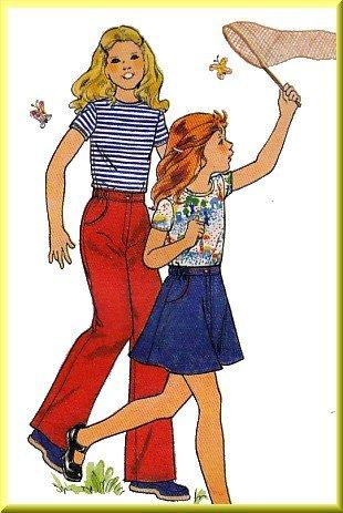 Butterick Sewing Pattern 4674 Sz 4 Vintage Girl's Knit Top Skirt Pants Casual Fun Basic Coordinates