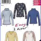 New Look Sewing Pattern 6143 Sz XS-XL Easy 2 Hour Stretch Knit Pullover Raglan Sweater Tops V-Neck