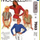 McCall's Sewing Pattern 7883 Sz 16 Vintage Misses' Pullover V-Neck Round Neck Top Button Shoulder