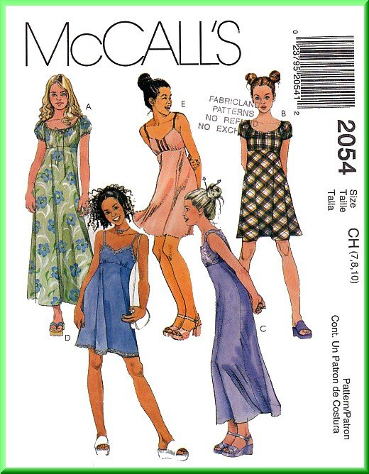 McCall's Sewing Pattern 2054 Sz 7-10 Girl's Empire Bodice Dresses Peasant Sleeveless Spaghetti Strap
