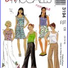 McCall's Sewing Pattern 3194 Sz 12-16 Trendy Girls' Outfit Tank Top Bell Bottom Pants Mini Skirt
