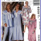 McCall's Sewing Pattern 6309 Sz 8-18 Misses' Nightgown and Pajamas Sleepwear Sailor Collar Yoke PJs