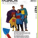 McCall's Sewing Pattern 7437 O/S Unisex Child's Misses' Mens' Family Poncho-in-a-Pouch Rain Coverup