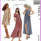 McCall's Sewing Pattern 7545 Sz 12 Pleated Dress 2 Lengths 90s Button Front Sleeveless Short Sleeves