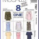 McCall's Sewing Pattern 7997 Sz 4-14 Misses' Pullover Tops 8 Styles Cowl Draped Keyhole Jewel Neck