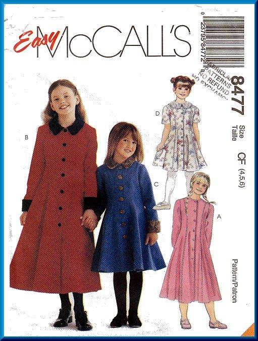 McCall's Sewing Pattern 8477 Sz 4-6 Girls' Princess Seam Flared Dress Overcoat Contrast Cuffs Collar