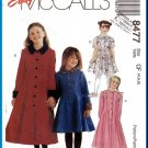 McCall's Sewing Pattern 8477 Sz 4-6 Girls' Princess Seam Flared Dress Overcoat Contrast Cuffs Collar