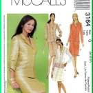 McCall's Sewing Pattern 3164 Sz 20-24 Misses' Miss Petite Notched Collar Jacket Knee Length Skirt
