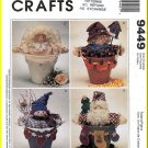 McCall's Sewing Pattern 9449 O/S Fun Crafts Flower Pot People Snowman Angel Scarecrow Santa Claus