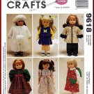 McCall's Sewing Pattern 9618 O/S Large Toy Doll Clothes Fur Coat Cheerleader Party Dress Fancy Parka