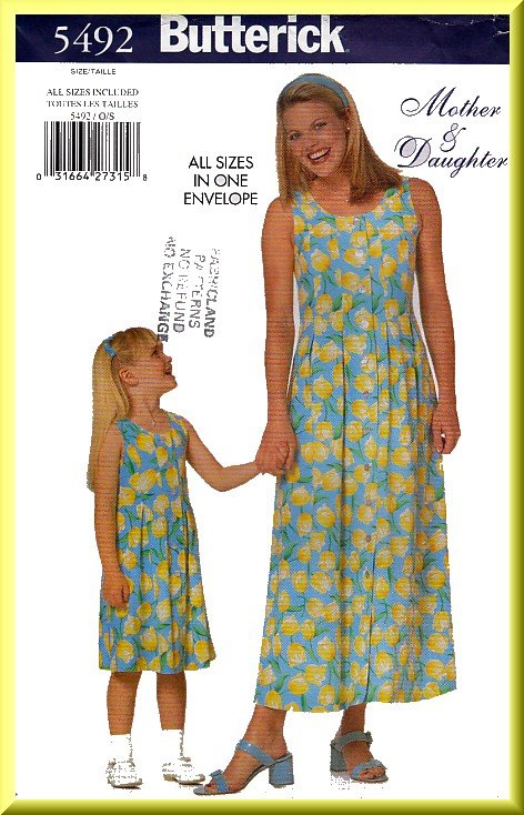 Butterick Sewing Pattern 5492 All Sizes Mother and Daughter Pleated Sleeveless Dress Misses' Girls'