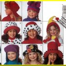 Butterick Sewing Pattern 3592 Sz S-L Children's Cute Fun Funky Hats Fleece Fur Caps Contrast Fabrics