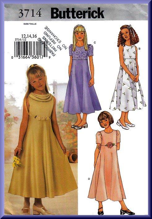 Butterick sewing pattern 3714 sz 12 16 girls 39 fancy dress for Cowl neck wedding dress pattern