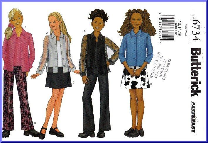 Butterick Sewing Pattern 6734 Sz 12-16 Girls' Stylish Blouse Mini Skirt Boot Legged Pants Tank Top