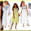 Butterick Sewing Pattern 6896 Sz 12-16 Girls' Sleepwear Ruffled Robe Sleeveless Bodice Nightgown