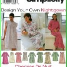 Simplicity Sewing Pattern 9289 Sz XS-M Misses' Design Your Own Nightgown Ruffles Gathers Yoke Bodice