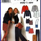 Simplicity Sewing Pattern 9461 Sz 7-16 Girl's Button Front Shirt Hoody Knit Vest Mini Skirt Pants