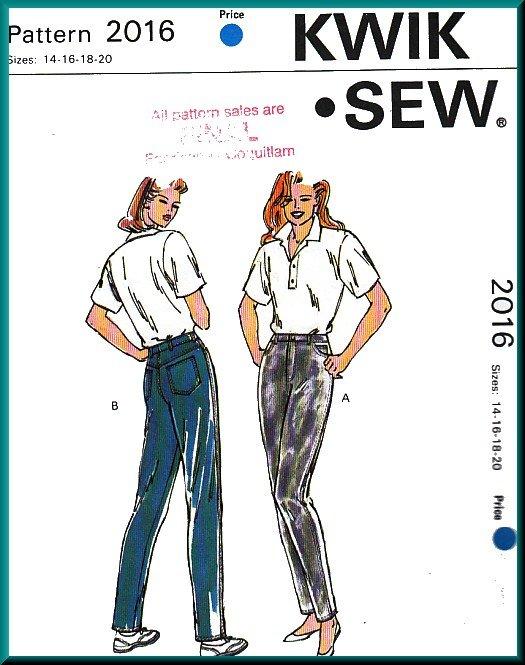 Kwik Sew Sewing Pattern 2016 Sz 14-20 Misses' Classic Jeans Tapered Straight Leg Denim Trousers Pant