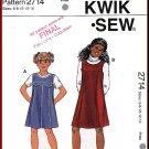 Kwik Sew Sewing Pattern 2714 Sz 6-14 Girls' A-line Jumpers Box Pleats Princess Seams Yokes Back Zip