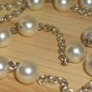 "Faux Pearls Lariat Beaded Silver Tone Chain Necklace Dangling Charm 20"" Long Matinee Length"