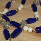 "Cobalt Blue Bohemian Chic Necklace Clear White Blue Beads Dangling Charm 22.5"" Beaded Matinee Length"