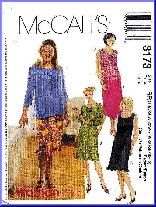 McCall's Sewing Pattern 3173 Plus Size 18W-24W Women's Summer Dresses Tops Skirts Ruffles Neck Ties