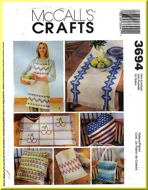McCall's Sewing Pattern 3694 Huck Weaving Arts Crafts Apron Placemat Towel Table Runner Pillows Bag