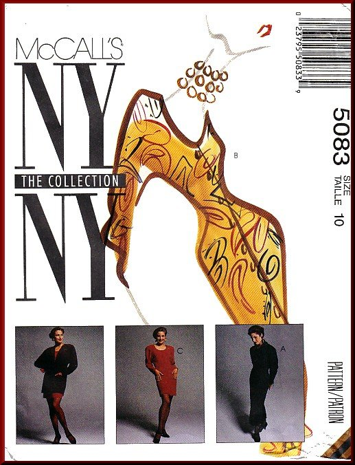 McCall's Sewing Pattern 5083 Sz 10 Misses' Retro 90s NY Collection Jacket Dress Raglan Sleeves Cowl