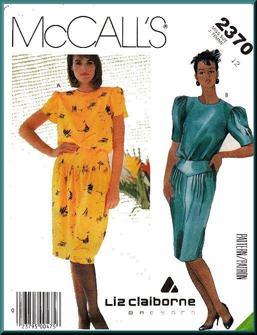 Vintage McCall's Sewing Pattern 2370 Sz 12 Misses' Liz Claiborne Dress Blouson Bodice Pleats Yoke