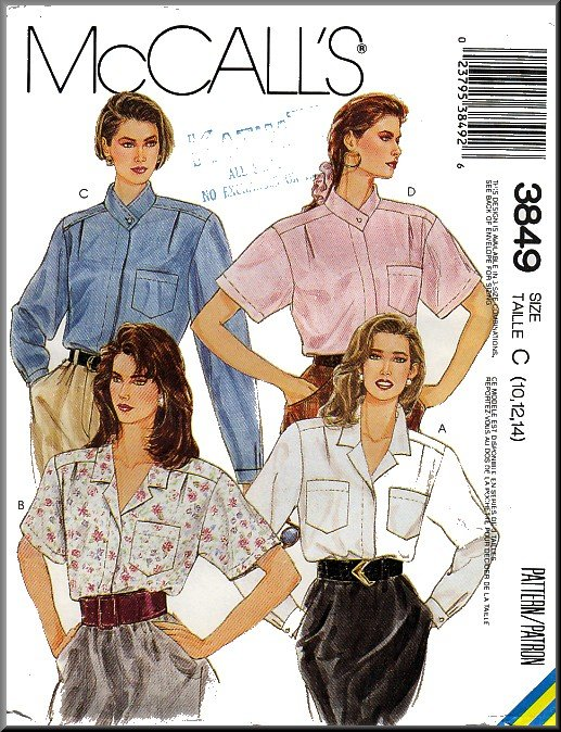 Vintage McCall's Sewing Pattern 3849 Sz 10-14 Misses' Blouses Notch High Collar Long Short Sleeves