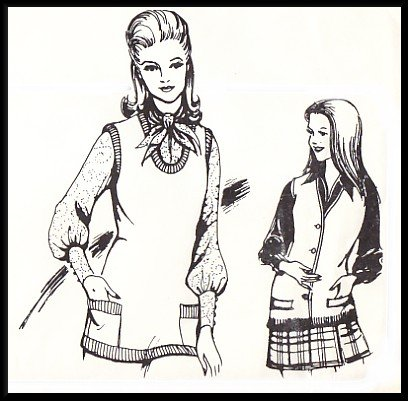 Vintage Knit and Stretch Sewing Pattern 204 Sz 8-14 Misses' Knit Pullover Vest Cardigan Waistcoat