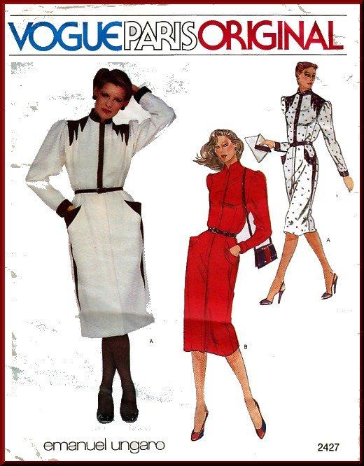 Vintage Vogue Sewing Pattern 2427 Sz 8 Misses' Dress Emanuel Ungaro Paris Retro Puff Shoulder Detail