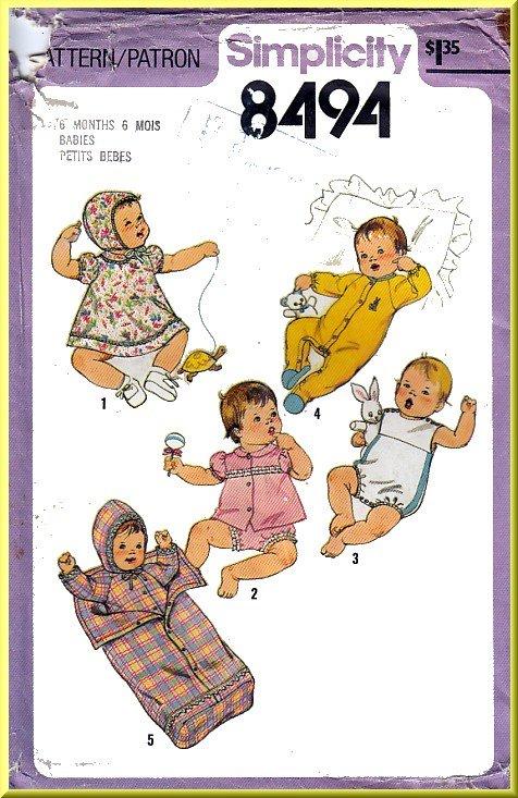 Vintage Simplicity Sewing Pattern 8494 Sz 6MO Babies' Layette Bunting Sleeper Bonnet Pajamas Sunsuit