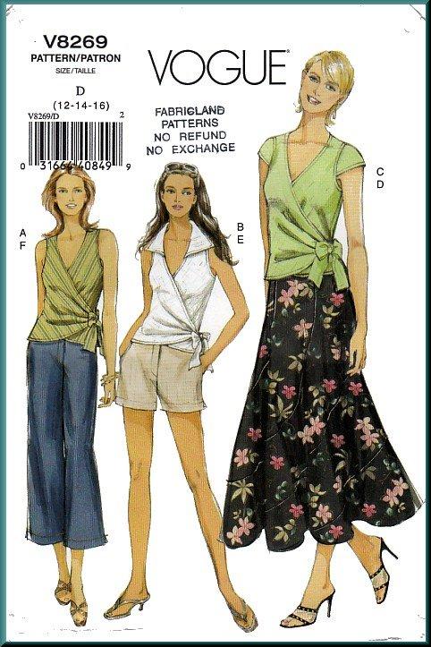 Vogue Sewing Pattern 8269 Sz 12-16 Misses' Wrap Top Capri Pants Micro Mini Shorts Long Flared Skirt