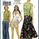 Vogue Sewing Pattern 8269 Sz 12-16 Misses' Wrap Top Capri Pants Micro Mini Shorts Long Flared Skirt