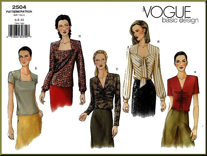 Vogue Sewing Pattern 2504 Sz 6-10 Misses' Fancy Blouses Bias Drape Shirred Front Ascot Tie Pullover