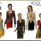 Vogue Sewing Pattern 2504 Sz 6-10 Misses' Fancy Blouses Bias Drape Shirred Front Ascot Tie Pullover